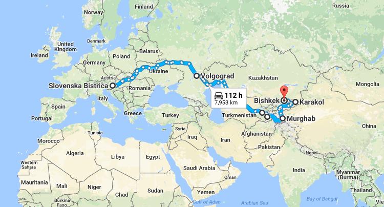 predvidena pot po Srednji Aziji