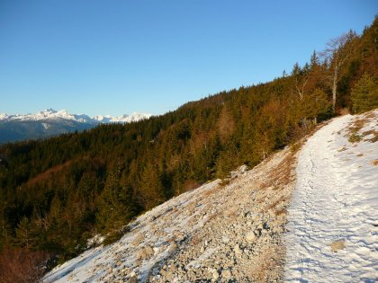 Pot na Stol, v ozadju Triglav.
