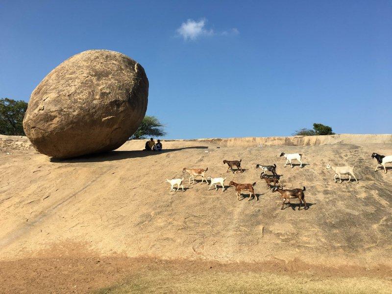 Višnujeva maslena kroglica, Mahabalipuram